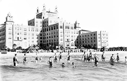People at the newly opened Don Cesar Hotel in St. Pete Beach, Florida in 1928 Don CeSar Hotel- St. Petersburg Beach, Florida (8410317737).jpg