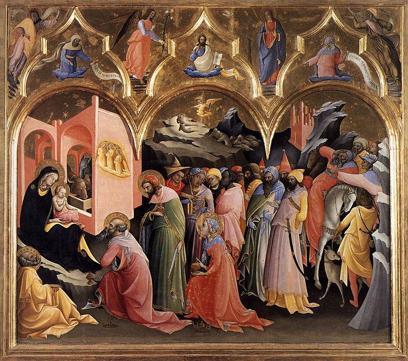 Ya vienen los Reyes Magos: una breve historia de Sus Majestades: Lorenzo Monaco: Adoración de los Magos. Destaca el más joven, efebo que parece mujer.
