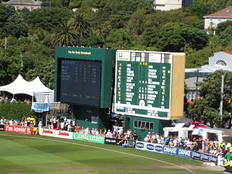 Basin Reserve - The main scoreboard named after cricket historian Don Neely