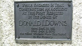 Forester Pass - Plaque on Forester Pass in the Sierra Nevada mountains of California commemorating the death of Donald Downs in 1930 during construction of the pass.