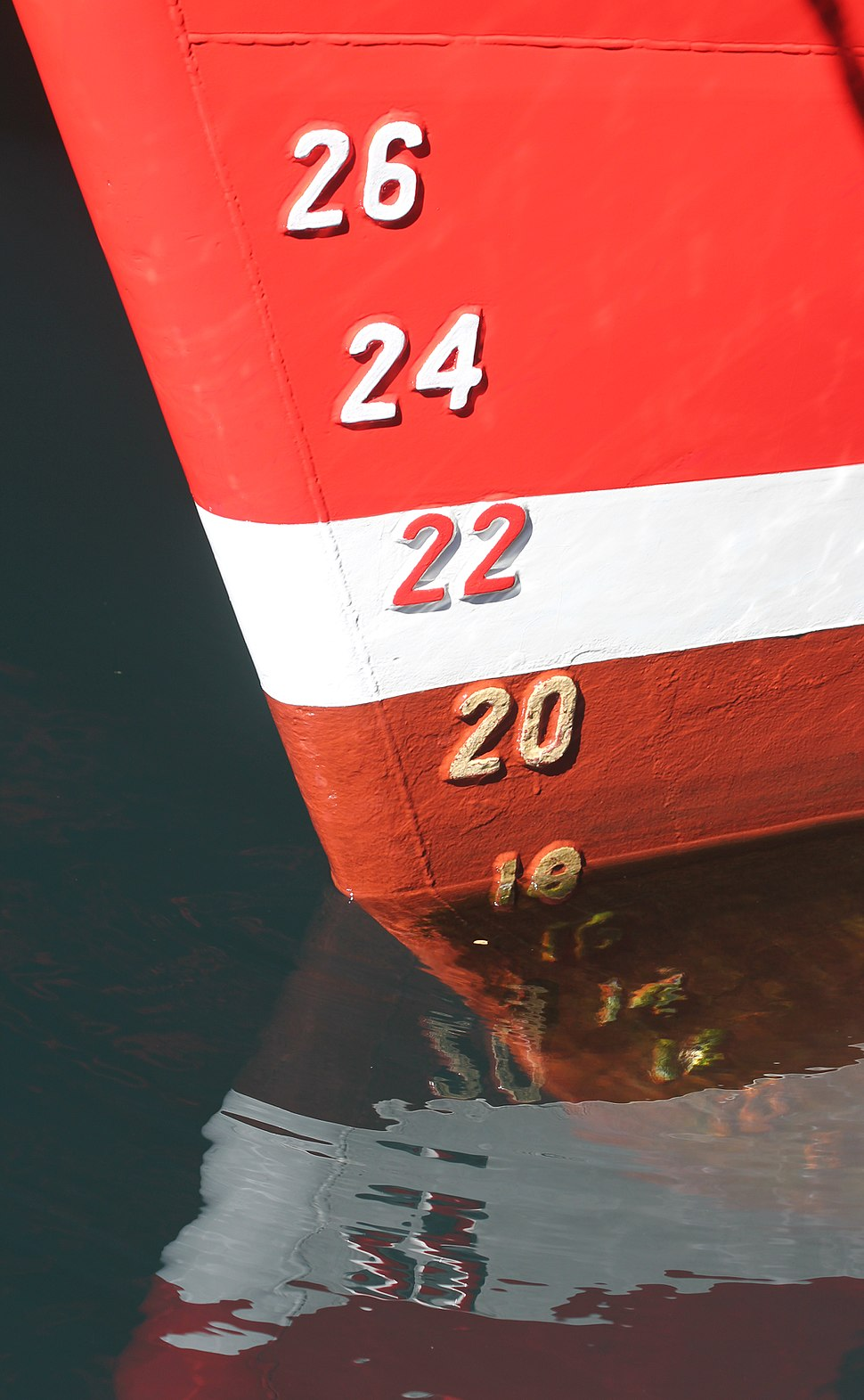 Draft marks on a ship's bow, with reflections