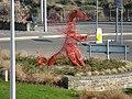Dragon sculpture on a roundabout, Carmarthen.jpg