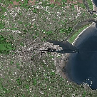 Satellite image showing the River Liffey entering the Irish Sea as it divides Dublin into the Northside and the Southside Dublin SPOT 1023.jpg
