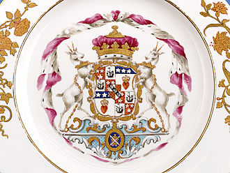 Duke of Hamilton - Coat of Arms on a Derby Porcelain dinner service commissioned by the 8th Duke of Hamilton, circa 1780-90