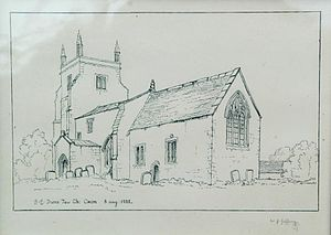 Duns Tew - Sketch of the parish church from the southeast in 1822, showing the Perpendicular Gothic east window that it had until the church was rebuilt in 1861