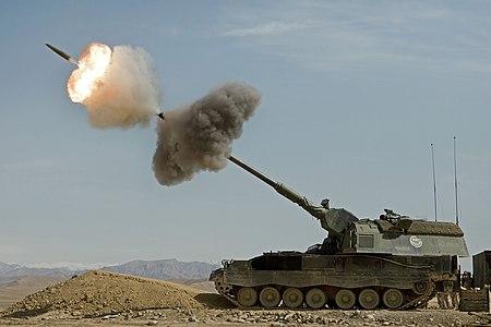 A Dutch Panzerhaubitze 2000 fires a round in Afghanistan.
