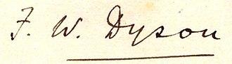 Frank Watson Dyson - Image: Dyson Frank signature