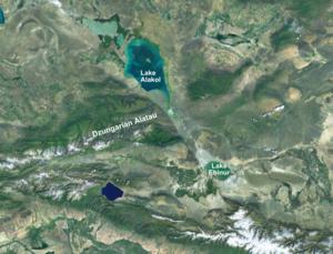 Dzungarian Gate - Satellite photograph of the Dzungarian Gate, the pale, fault-lined valley running between Lake Alakol and Lake Ebinur through the Dzungarian Alatau mountain range.