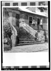 EAST STAIRS, FROM SOUTHEAST - Moravian Parsonage, Friedensfeld, St. Croix, VI HABS VI,1-FRIE,2-2.tif
