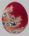 Easter egg painted with a Julia set, defined by the complex function, f(z)=z^2-0.04 - 0.684 1j.png