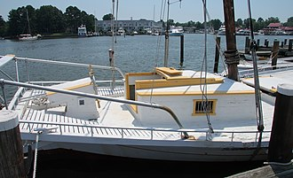 Edna E. Lockwood - Stern of the Lockwood showing the patent stern, deckhouse and steering gear