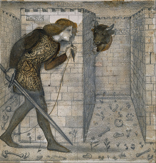 Edward Burne-Jones - Tile Design - Theseus and the Minotaur in the Labyrinth - Google Art Project