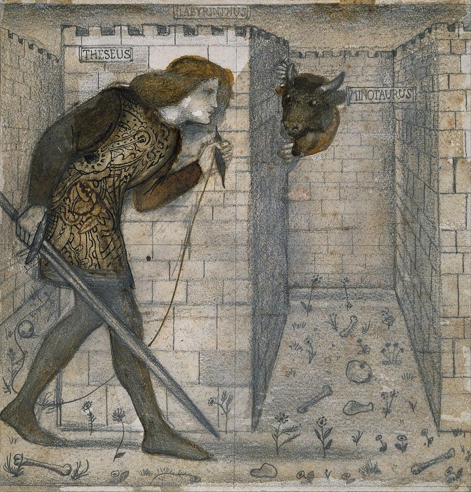Edward Burne-Jones - Tile Design - Theseus and the Minotaur in the Labyrinth - Google Art Project