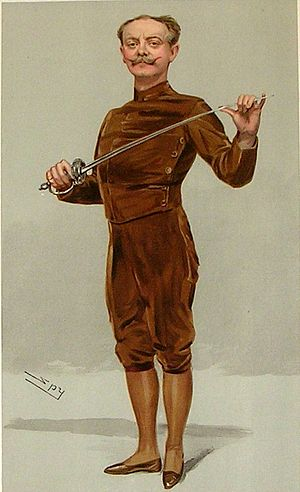 """Egerton Castle - """"He insists that his pen is mightier than his sword"""" Castle as caricatured by Spy (Leslie Ward) in Vanity Fair, March 1905"""