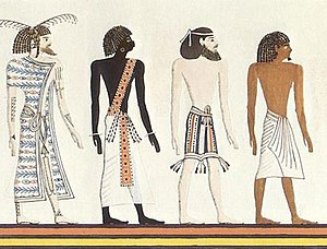 "Book of Gates - The four races of the world: a Libyan (""Themehu""), a Nubian (""Nehesu""), an Asiatic (""Aamu""), and an Egyptian (""Reth""). An artistic rendering, based on a mural from the tomb of Seti I."