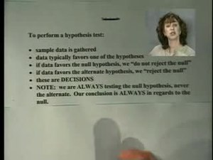 File:Elementary Statistics Video Lecture Hypothesis Testing with a Single Mean.ogv