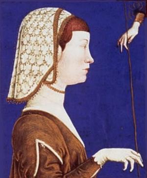 """Eleanor of Naples, Duchess of Ferrara - Portrait of Eleonora d'Aragona, from a manuscript """"Il modo di regere e di regnare"""" by Antonio Cornazzano."""