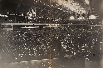 Elihu Root - Crowds listen as Root delivers the opening speech of the 1904 Republican National Convention