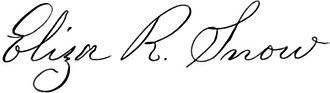 Eliza R. Snow - Image: Eliza R. Snow Signature