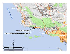 Ellwood Oil Field - The Ellwood Oil Field and South Ellwood Offshore Oil Field. Other oil fields are shown in gray.