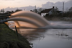 2013–14 United Kingdom winter floods - Emergency pumps were brought in to drain the Somerset levels.