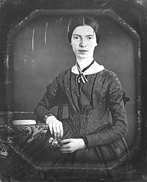 Daguerreotype of the poet Emily Dickinson, tak...