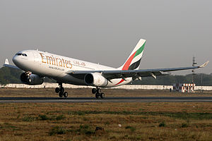 Sardar Vallabhbhai Patel International Airport - An Emirates Airbus A330-200 arriving from Dubai–International