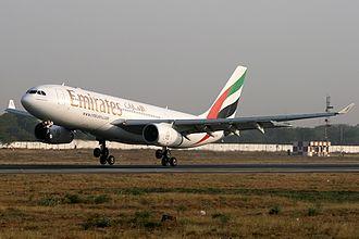 Sardar Vallabhbhai Patel International Airport - An Emirates Airbus A330-200 arriving from Dubai–International