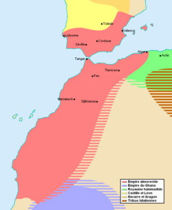 The Almoravid empire at its greatest extent, c. 1120.