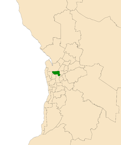 Map of Adelaide, South Australia with electoral district of Enfield highlighted