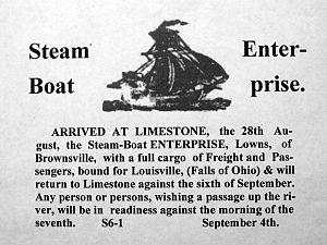 Monongahela and Ohio Steam Boat Company - Image: Enterprise advertisement