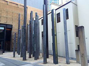 Museum of Sydney - Edge of the Trees, artwork in the museum forecourt, installed in 1995.