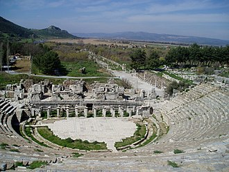 Mediterranean forests, woodlands, and scrub - Close up of Ephesos ancient Greek amphitheatre with a maquis shrubland