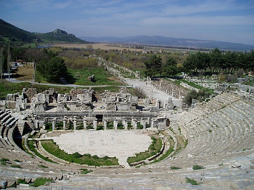Ruins of Ephesus amphitheater with the harbor street leading to the coastline (2004).