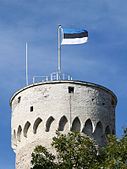 The current flag above the Tall Hermann tower, Toompea castle, Tallinn.