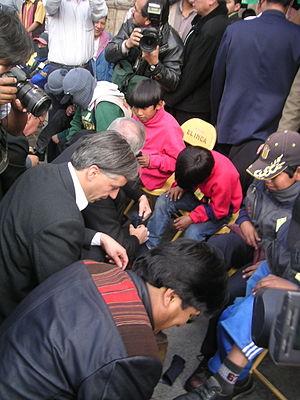 Evo Morales and Bolivian vice-president Álvaro...