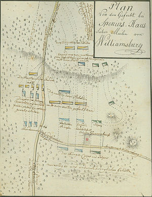 Battle of Spencer's Ordinary - Map by Johann Ewald depicting the action.  American forces are yellow, British blue.