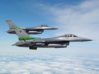 134th Fighter Squadron - Two U.S. Air Force General Dynamics F-16C Fighting Falcon fighters (s/n 83-1159, 84-1275) from the 134th Fighter Squadron, 158th Fighter Wing, Vermont Air National Guard,