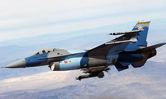 Aggressor squadron - A USAF F-16C aggressor aircraft - the camouflage scheme emulates Soviet markings with multiple shades of blue and gray.