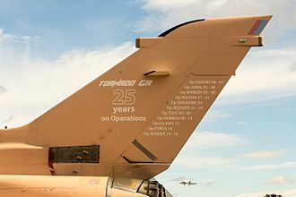 Timeline of the Royal Air Force - Tail of Tornado GR4 ZG750, marking 25 years of Tornado GR operations, at the 2016 Farnborough Airshow.
