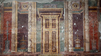 Fresco of a false door in the Roman Villa Poppaea False door fresco in Villa Poppaea close-up Tcr.jpg