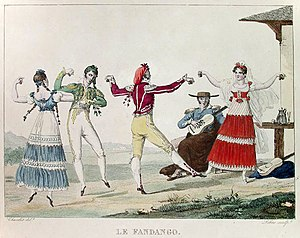 Fandango - Eighteenth century Castilian fandango dancers (by Pierre Chasselat (1753–1814)