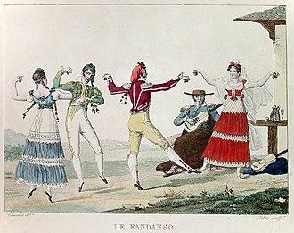 Fandango - Eighteenth century Castilian fandango dancers (by Pierre Chasselat) (1753–1814)