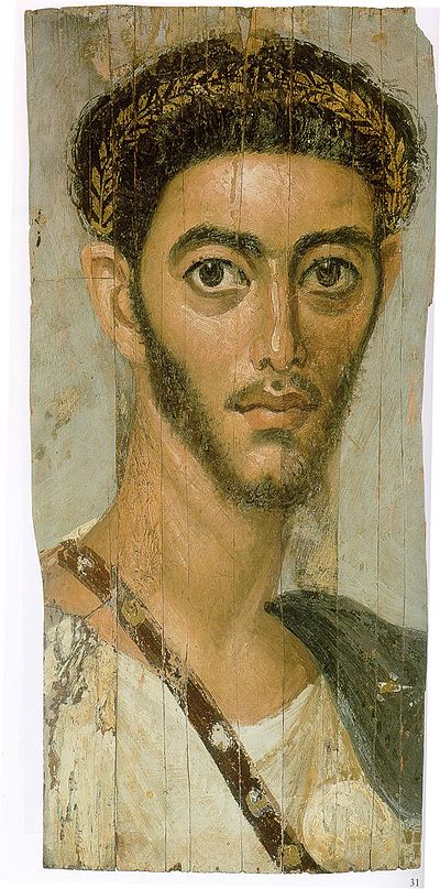 Portret ratnika, Fayum, donji Egipat, 2. st., enkaustika na dasci, 39 x 19 cm, Metropolitan muzej, New York.