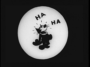 """Felix the Cat - A scene of Felix """"laughing"""" from Felix in Hollywood (1923)"""
