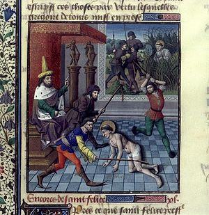 Felix of Nola - Saint Felix of Nola beaten and hidden by a spider's web