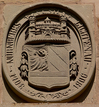 Free Imperial City of Nuremberg - Nuremberger coat of arms at the entrance to Lichtenau castle.