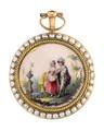 Fickur med boett av guld med pärlor och miniatyrmålning i emalj, 1700-tal - Hallwylska museet - 110418.tif