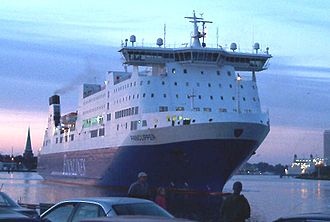 Finnlines - MS Finnclipper, one of the ropax ferries in Finnlink service (photographed in Travemünde in older Finnlines colours).
