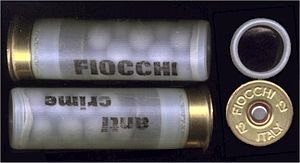 Riot shotgun - Two rounds of Fiocchi 12 gauge rubber buckshot